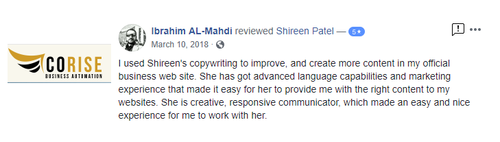 4 Your Muslim Copywriter - Testimonial - CoRise 3 Muslim copywriter content writing digital marketing email marketing content creator video funnels landing pages professional certif
